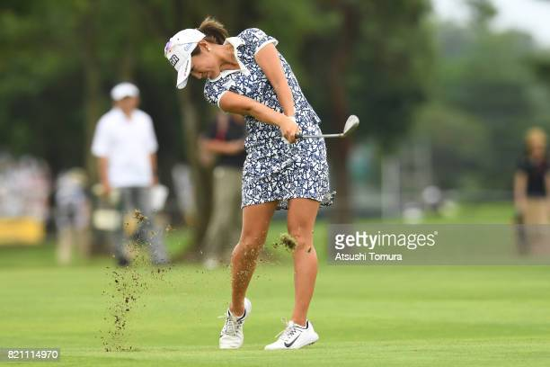Asako Fujimoto of Japan hits her second shot on the 10th hole during the final round of the Century 21 Ladies Golf Tournament 2017 at the Seta Golf...