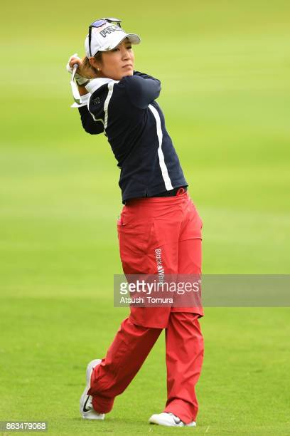Asako Fujimoto of Japan hits her second shot on the 18th hole during the second round of the Nobuta Group Masters GC Ladies at the Masters Golf Club...