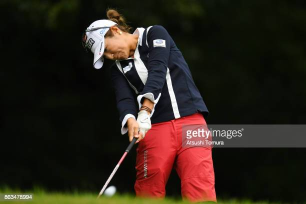 Asako Fujimoto of Japan hits her tee shot on the 2nd hole during the second round of the Nobuta Group Masters GC Ladies at the Masters Golf Club on...