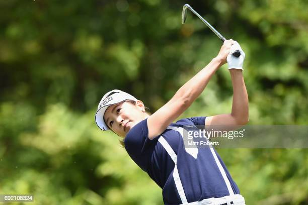 Asako Fujimoto of Japan hits her tee shot on the 7th hole during the final round of the Yonex Ladies Golf Tournament 2016 at the Yonex Country Club...