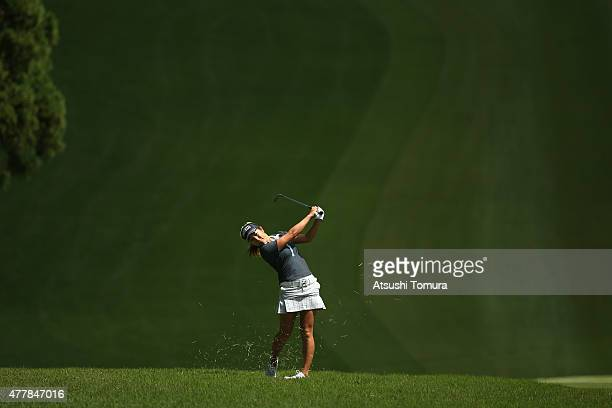 Asako Fujimoto of Japan hits her third shot on the 1st hole during the second round of the Nichirei Ladies at the Sodegaura Country Club Shinsode...