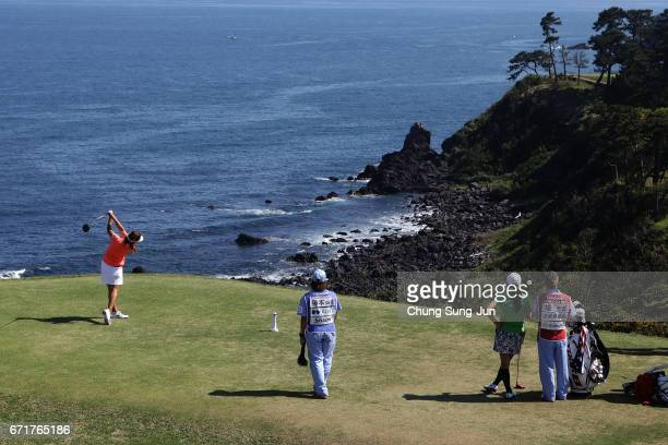 Asako Fujimoto of Japan plays a tee shot on the 16th hole during the final round of Fujisankei Ladies Classic at the Kawana Hotel Golf Course Fuji...