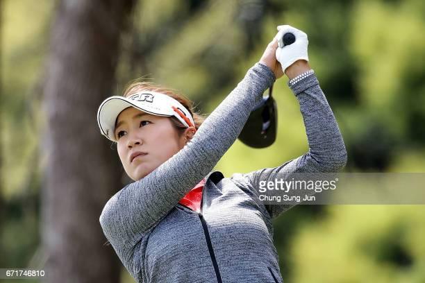 Asako Fujimoto of Japan plays a tee shot on the 3rd hole during the final round of Fujisankei Ladies Classic at the Kawana Hotel Golf Course Fuji...