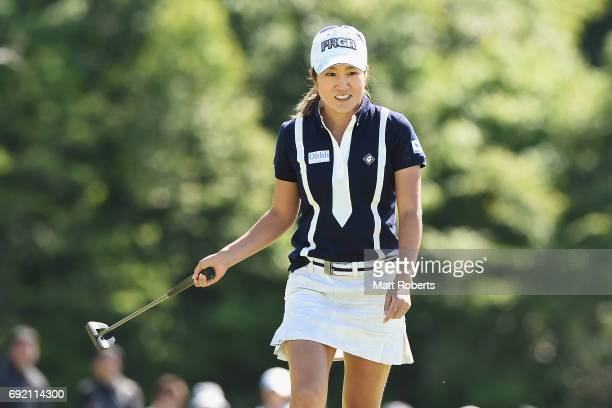 Asako Fujimoto of Japan reacts after her putt on the 18th green during the final round of the Yonex Ladies Golf Tournament 2016 at the Yonex Country...