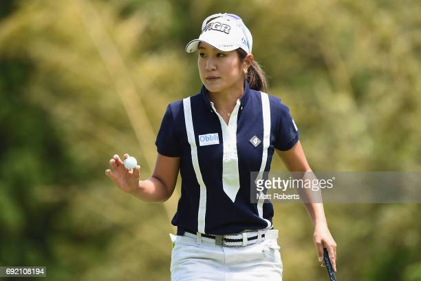Asako Fujimoto of Japan reacts after her putt on the 6th green during the final round of the Yonex Ladies Golf Tournament 2016 at the Yonex Country...