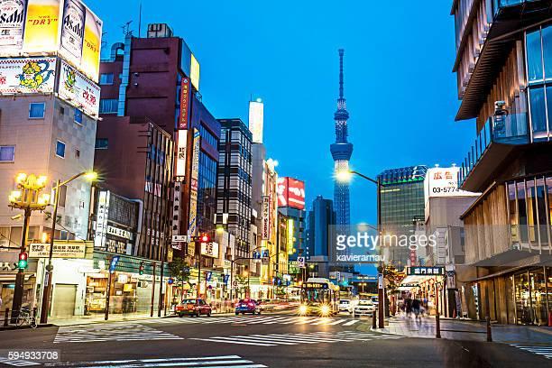 Asakusa Street  with Tokyo Skytree at dusk