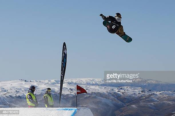 Asami Hirono of Japan competes in the FIS Snowboard World Cup Slopestyle Finals during the Winter Games NZ at Cardrona Alpine Resort on August 22...