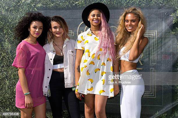 Asami Zdrenka Shereen Cutkelvin Amira McCarthy Jessica and Kate Plummer of Neon Jungle performing on Sony's Xperia Access acoustic stage in the...