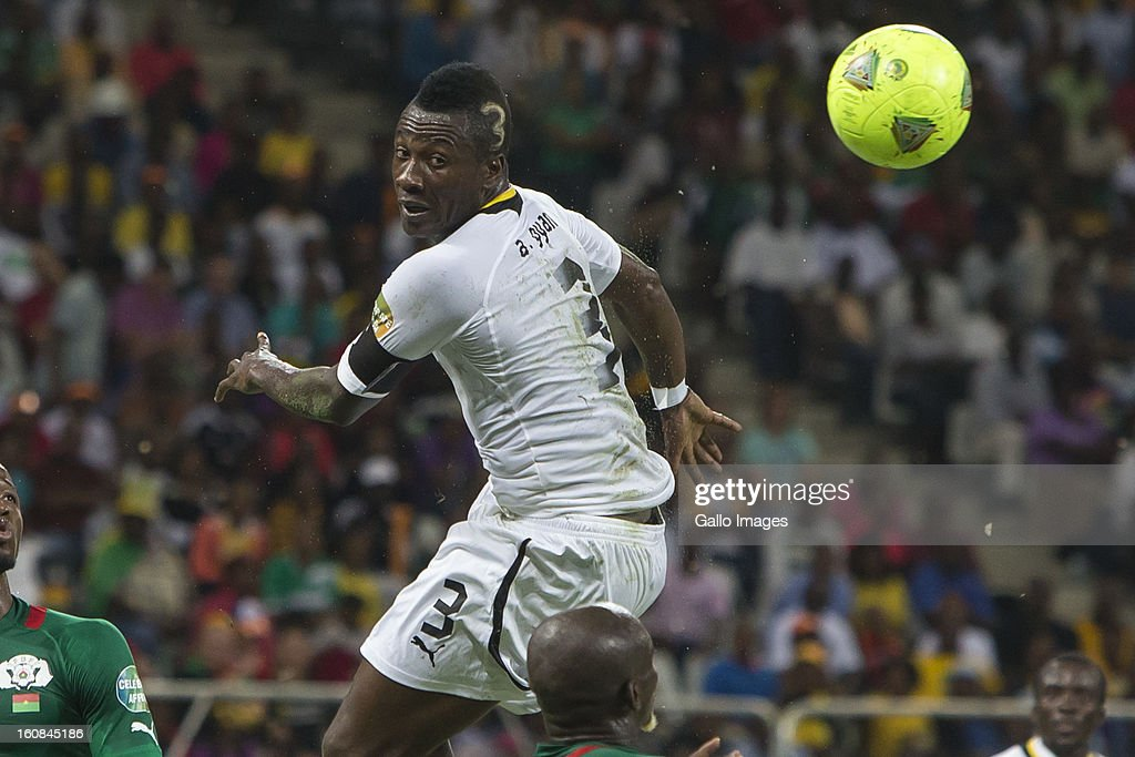 <a gi-track='captionPersonalityLinkClicked' href=/galleries/search?phrase=Asamoah+Gyan&family=editorial&specificpeople=535782 ng-click='$event.stopPropagation()'>Asamoah Gyan</a> (Captain) from Ghana during the 2013 Orange African Cup of Nations 2nd Semi Final match between Burkina Faso and Ghana at Mbombela Stadium on February 06, 2013 in Nelspruit, South Africa.