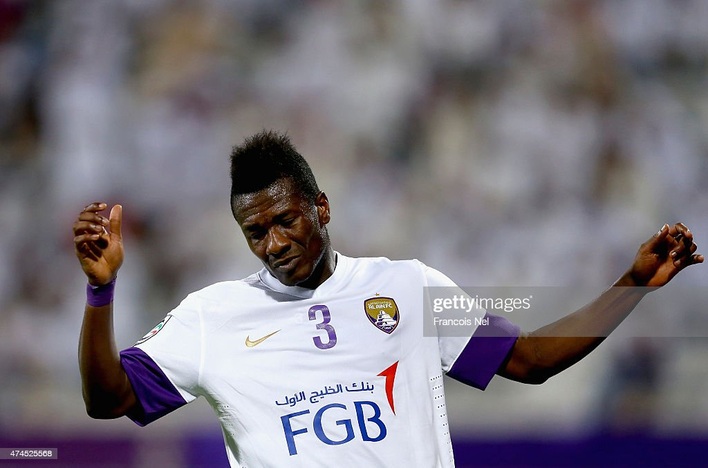 <a gi-track='captionPersonalityLinkClicked' href=/galleries/search?phrase=Asamoah+Gyan&family=editorial&specificpeople=535782 ng-click='$event.stopPropagation()'>Asamoah Gyan</a> of Al Aain reacts after having his shot at goal saved during the Presidents Cup Quarter Final match between Al Ain and Al Nasr at Al Maktoum Stadium on May 23, 2015 in Dubai, United Arab Emirates.