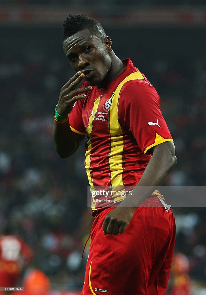 <a gi-track='captionPersonalityLinkClicked' href=/galleries/search?phrase=Asamoah+Gyan&family=editorial&specificpeople=535782 ng-click='$event.stopPropagation()'>Asamoah Gyan</a> of Ghana celebrates after he scores the equalising goal during the international friendly match between England and Ghana at Wembley Stadium on March 29, 2011 in London, England.