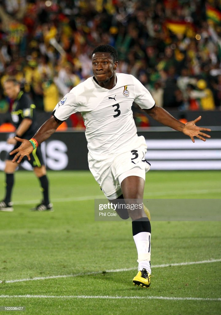 <a gi-track='captionPersonalityLinkClicked' href=/galleries/search?phrase=Asamoah+Gyan&family=editorial&specificpeople=535782 ng-click='$event.stopPropagation()'>Asamoah Gyan</a> of Ghana celebrates after scoring a penalty during the 2010 FIFA World Cup South Africa Group D match between Serbia and Ghana at Loftus Versfeld Stadium on June 13, 2010 in Pretoria, South Africa.