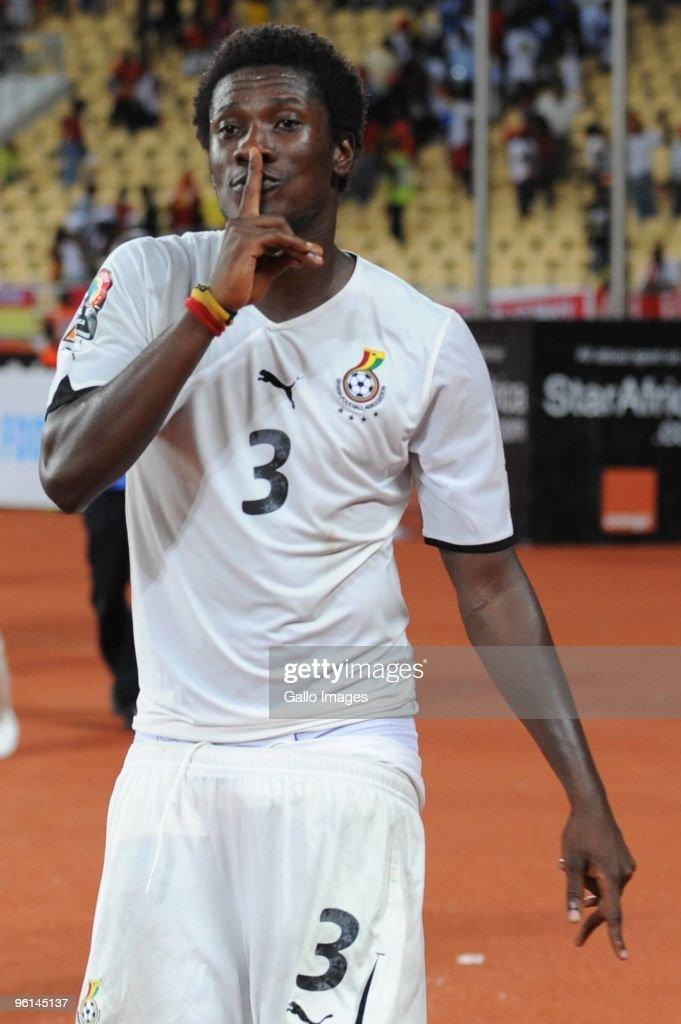 <a gi-track='captionPersonalityLinkClicked' href=/galleries/search?phrase=Asamoah+Gyan&family=editorial&specificpeople=535782 ng-click='$event.stopPropagation()'>Asamoah Gyan</a> of Ghana celebrates his goal during the Africa Cup of Nations Quarter Final match between Angola and Ghana from the November 11 Stadium on January 24, 2010 in Luanda, Angola.
