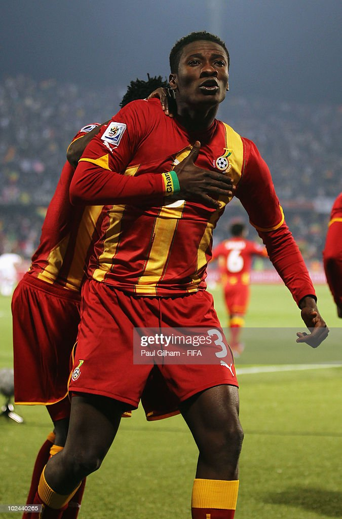 <a gi-track='captionPersonalityLinkClicked' href=/galleries/search?phrase=Asamoah+Gyan&family=editorial&specificpeople=535782 ng-click='$event.stopPropagation()'>Asamoah Gyan</a> of Ghana celebrates scoring his side's second goal during the 2010 FIFA World Cup South Africa Round of Sixteen match between USA and Ghana at Royal Bafokeng Stadium on June 26, 2010 in Rustenburg, South Africa.