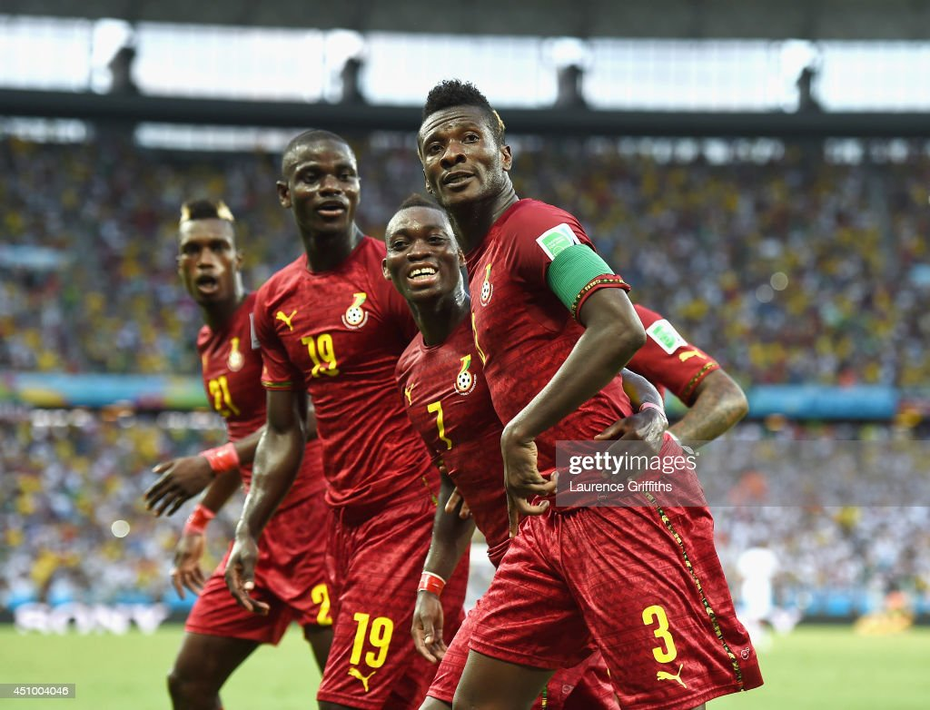 <a gi-track='captionPersonalityLinkClicked' href=/galleries/search?phrase=Asamoah+Gyan&family=editorial&specificpeople=535782 ng-click='$event.stopPropagation()'>Asamoah Gyan</a> of Ghana celebrates scoring his team's second goal during the 2014 FIFA World Cup Brazil Group G match between Germany and Ghana at Castelao on June 21, 2014 in Fortaleza, Brazil.