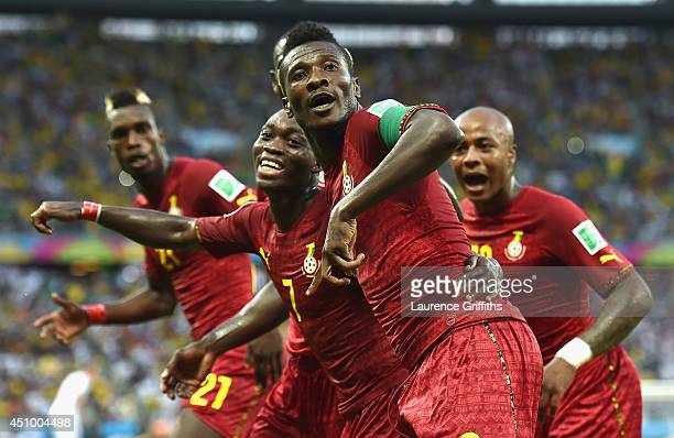 Asamoah Gyan of Ghana celebrates scoring his team's second goal during the 2014 FIFA World Cup Brazil Group G match between Germany and Ghana at...