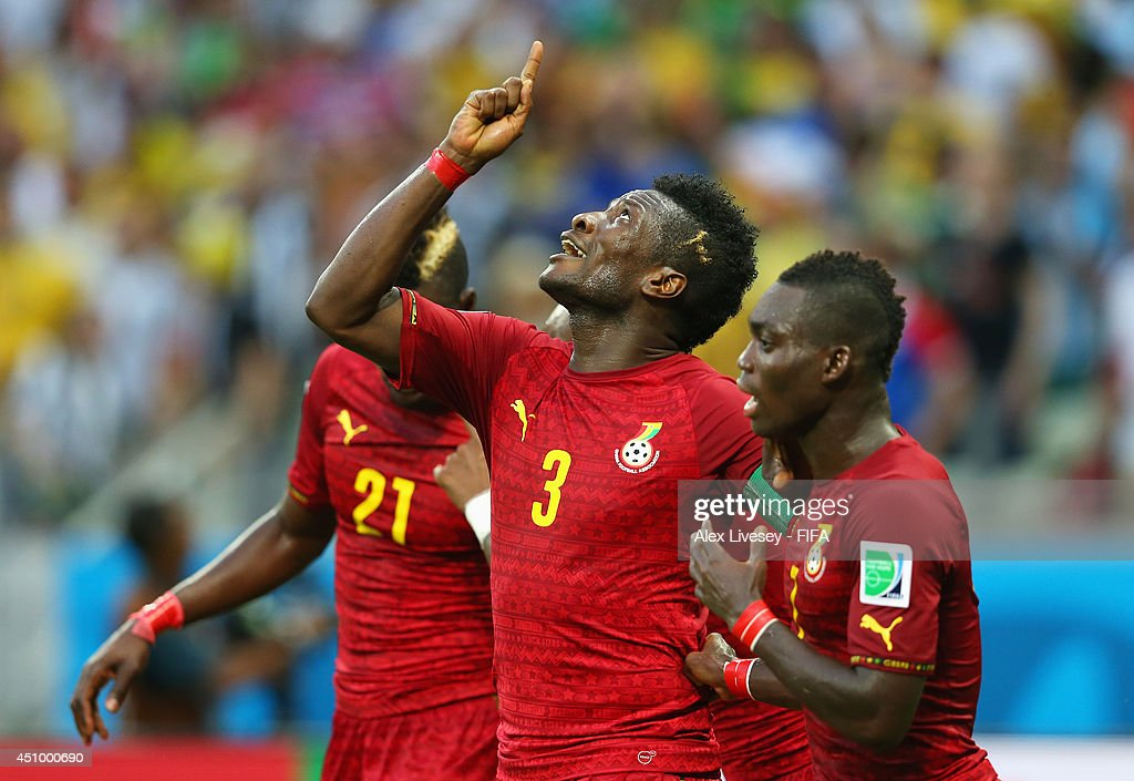 <a gi-track='captionPersonalityLinkClicked' href=/galleries/search?phrase=Asamoah+Gyan&family=editorial&specificpeople=535782 ng-click='$event.stopPropagation()'>Asamoah Gyan</a> of Ghana celebrates scoring his team's second goal with his teammates <a gi-track='captionPersonalityLinkClicked' href=/galleries/search?phrase=Christian+Atsu&family=editorial&specificpeople=8284773 ng-click='$event.stopPropagation()'>Christian Atsu</a> (R) and <a gi-track='captionPersonalityLinkClicked' href=/galleries/search?phrase=John+Boye&family=editorial&specificpeople=7190220 ng-click='$event.stopPropagation()'>John Boye</a> of Ghana during the 2014 FIFA World Cup Brazil Group G match between Germany and Ghana at Castelao on June 21, 2014 in Fortaleza, Brazil.
