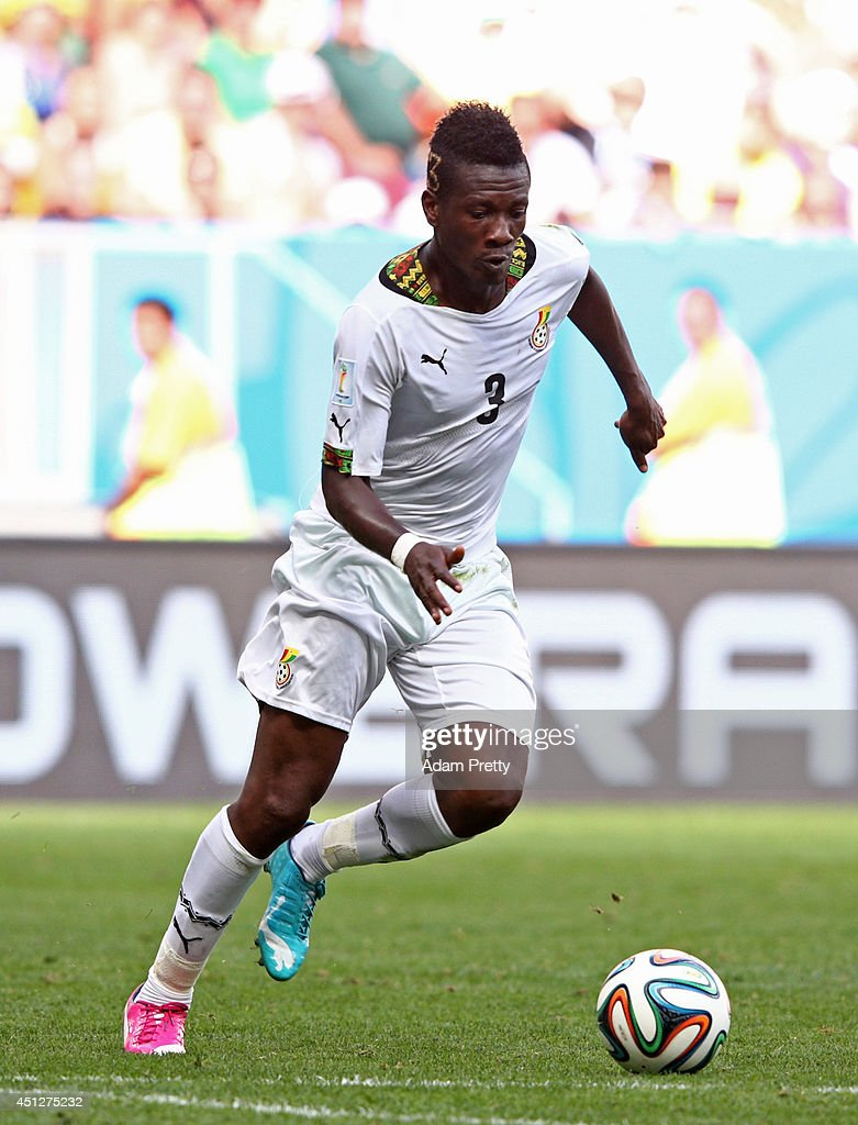 <a gi-track='captionPersonalityLinkClicked' href=/galleries/search?phrase=Asamoah+Gyan&family=editorial&specificpeople=535782 ng-click='$event.stopPropagation()'>Asamoah Gyan</a> of Ghana controls the ball during the 2014 FIFA World Cup Brazil Group G match between Portugal and Ghana at Estadio Nacional on June 26, 2014 in Brasilia, Brazil.