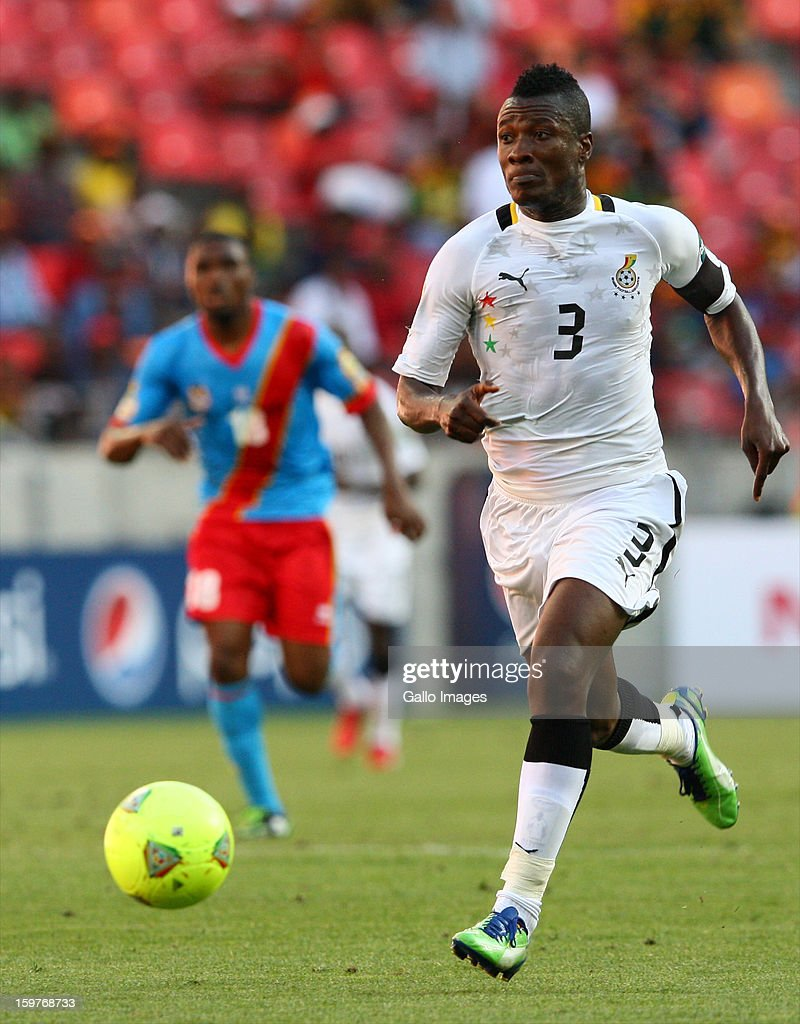 Asamoah Gyan of Ghana in action during the 2013 African Cup of Nations match between Ghana and Congo DR at Nelson Mandela Bay Stadium on January 20, 2013 in Port Elizabeth, South Africa.