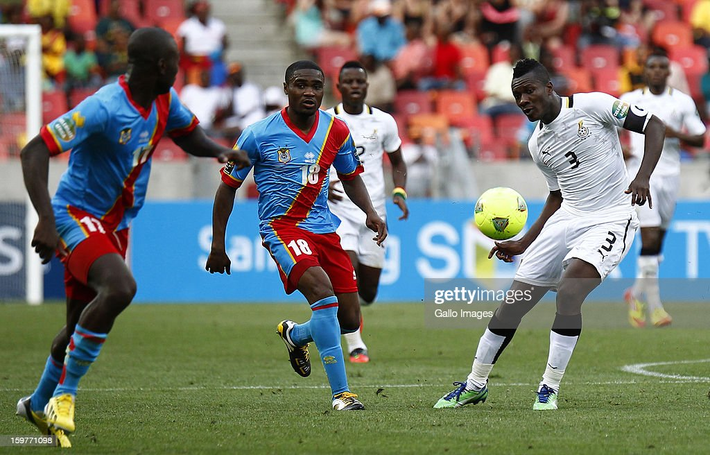 <a gi-track='captionPersonalityLinkClicked' href=/galleries/search?phrase=Asamoah+Gyan&family=editorial&specificpeople=535782 ng-click='$event.stopPropagation()'>Asamoah Gyan</a> of Ghana in action during the 2013 African Cup of Nations match between Ghana and Congo DR at Nelson Mandela Bay Stadium on January 20, 2013 in Port Elizabeth, South Africa.
