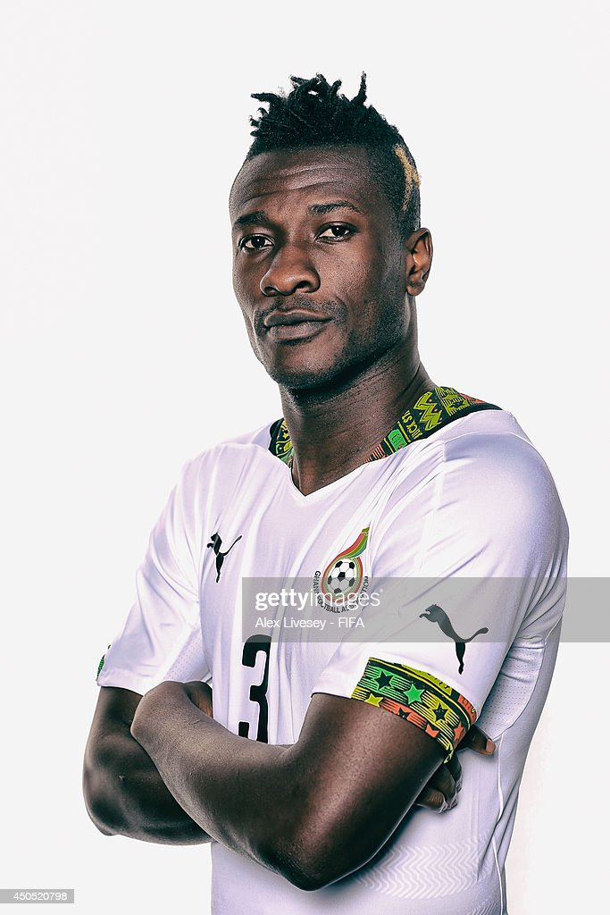 <a gi-track='captionPersonalityLinkClicked' href=/galleries/search?phrase=Asamoah+Gyan&family=editorial&specificpeople=535782 ng-click='$event.stopPropagation()'>Asamoah Gyan</a> of Ghana poses during the official FIFA World Cup 2014 portrait session on June 11, 2014 in Maceio, Brazil.