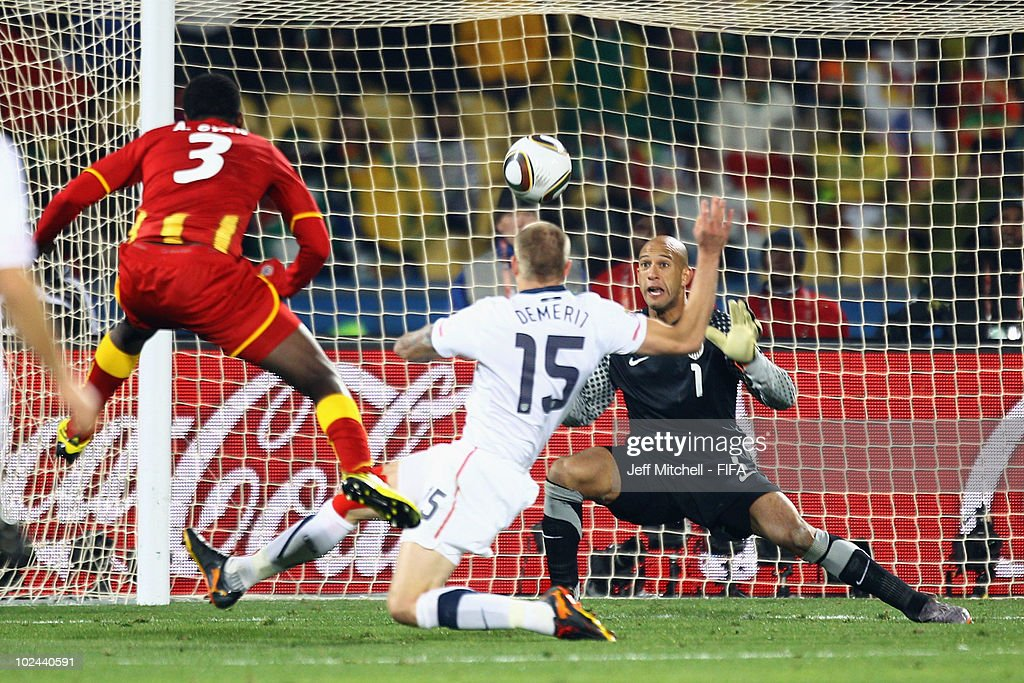 <a gi-track='captionPersonalityLinkClicked' href=/galleries/search?phrase=Asamoah+Gyan&family=editorial&specificpeople=535782 ng-click='$event.stopPropagation()'>Asamoah Gyan</a> of Ghana scores his side's second goal past <a gi-track='captionPersonalityLinkClicked' href=/galleries/search?phrase=Tim+Howard+-+Soccer+Player&family=editorial&specificpeople=11515558 ng-click='$event.stopPropagation()'>Tim Howard</a> of the United States during the 2010 FIFA World Cup South Africa Round of Sixteen match between USA and Ghana at Royal Bafokeng Stadium on June 26, 2010 in Rustenburg, South Africa.