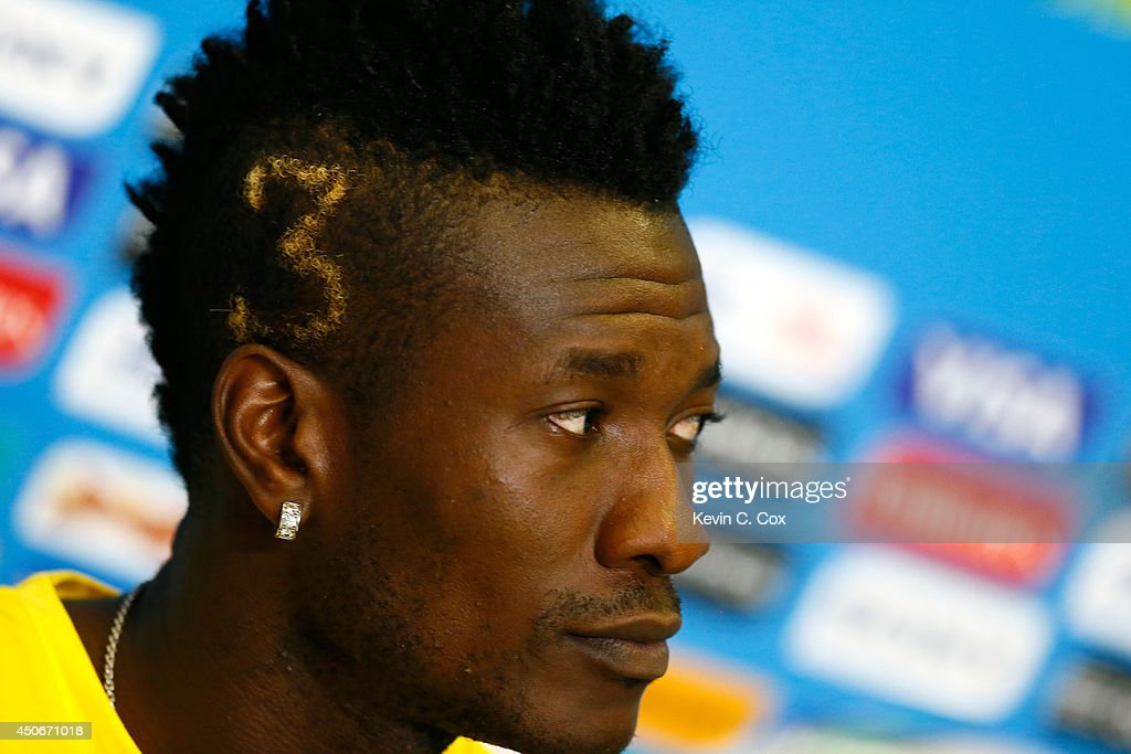 <a gi-track='captionPersonalityLinkClicked' href=/galleries/search?phrase=Asamoah+Gyan&family=editorial&specificpeople=535782 ng-click='$event.stopPropagation()'>Asamoah Gyan</a> of Ghana speaks to the media at Estadio das Dunas on June 15, 2014 in Natal, Brazil.