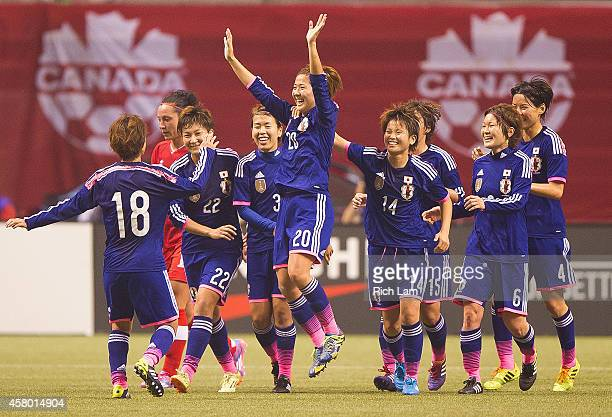Asano Nagasato of Japan celebrates after scoring a goal against Canada in Women's International Soccer Friendly Series action on October 28 2014 at...