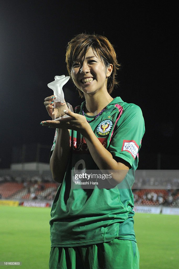 Asano Nagasato #9 of NTV Beleza celebrates during the ceremony after the Nadeshiko League Cup Final match between NTV Beleza and INAC Kobe Leonessa at NACK 5 Stadium Omiya on September 9, 2012 in Saitama, Japan.