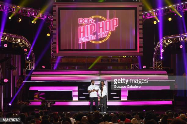 Asap Ferg and Ryan Destiny speak onstage during the BET Hip Hop Awards 2017 at The Fillmore Miami Beach at the Jackie Gleason Theater on October 6...