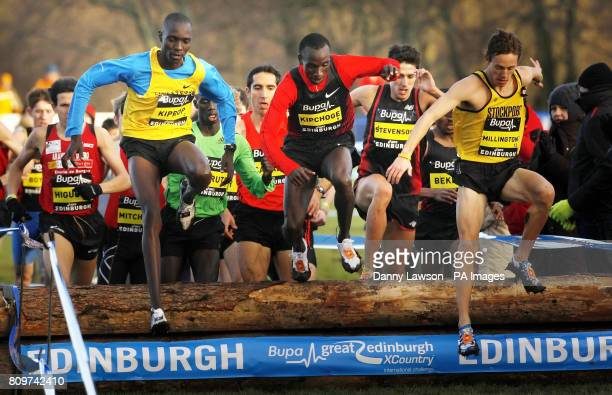 Asbel Kiprop competes in the Bupa Great Edinburgh Cross Country Men's 3km ahead of winning the race with a time of 0920 with Eliud Kipchoge and Ross...