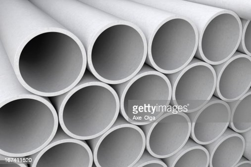 Asbestos cement pipes. : Stock Photo
