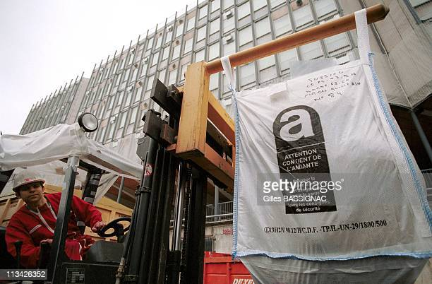Asbestos Removal Of The Jussieu University On March 25th 1999 In ParisFrance Bags Of Removed Asbestos