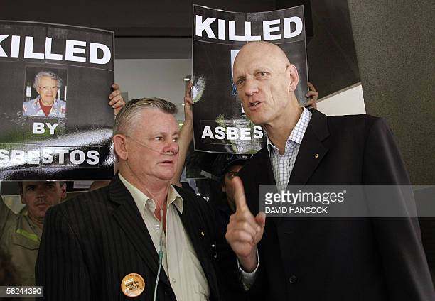 Asbestosis victim Bernie Banton along with Former Midnight Oil frontman and member of the the Australian federal opposition Peter Garrett take part...