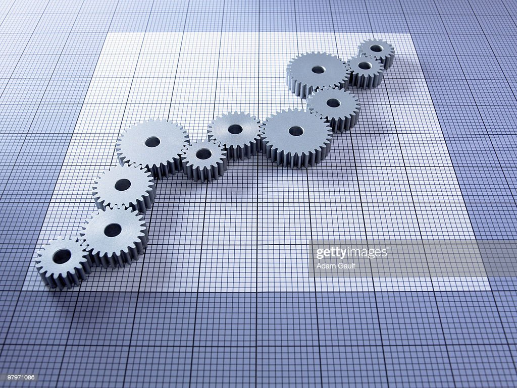 Ascending cogs forming graph : Stock Photo
