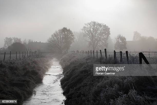 Ascending fog is pictured over a meadow and a small river on November 13 2016 in Jaenkendorf Deutschland