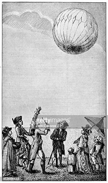 Ascension of a Montgolfier balloon late 18th century Illustration from The Connoisseur