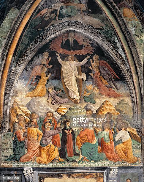 Ascension of Christ by unknown artist 15th Century fresco Italy Lombardy Lodi Church of Saint Francis Whole artwork view Jesus ascending to heaven...