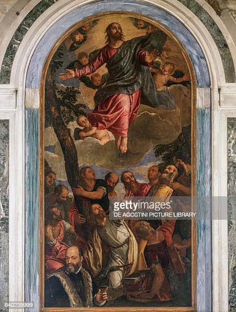 Ascension of Christ in the presence of the apostles and the patron Malmignati by Paolo Veronese and his workshop Sanctuary our Lady of the Pilaster...