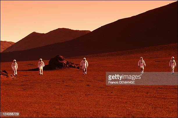 Ascent of Mars mountain in France in December 2002 The first steps taken by the five actor/spacemen in an attempt to cross the sandy plain a...