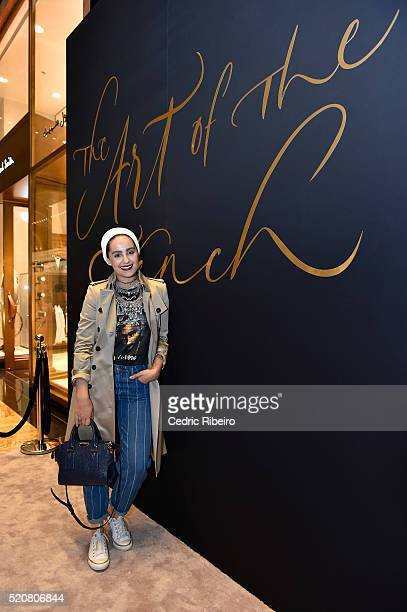 'DUBAI UNITED ARAB EMIRATES APRIL 12 Ascia Akf at the Burberry Art of the Trench Middle East event at Mall of the Emirates on April 12 2016 in Dubai...