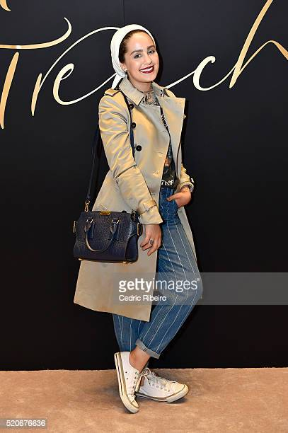 'DUBAI UNITED ARAB EMIRATES APRIL 12 Ascia Akf attends the Burberry Art of the Trench Middle East event at Mall of the Emirates on April 12 2016 in...