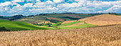 Asciano (Siena) - Characteristic Tuscan landscape with fields of wheat and clouds