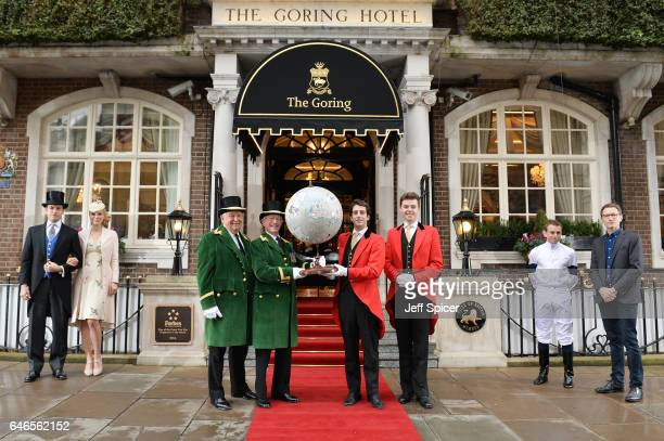 Ascot Greencoats The Goring Redcoats Ryan Moore and Peter Bellerby Globemaker attend a photocall as Ascot Racecourse delivers a fabulous piece of art...