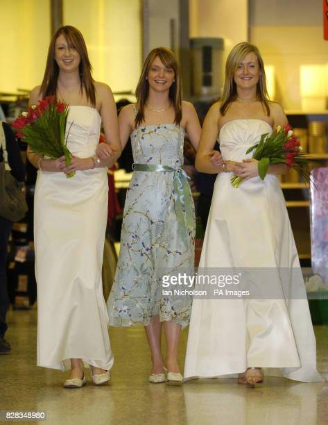 Asda bridal wear is launched at the company's Watford store Tuesday February 14 2006 Clare wears a twopiece outfit on sale for 65 Tahnee wears a...
