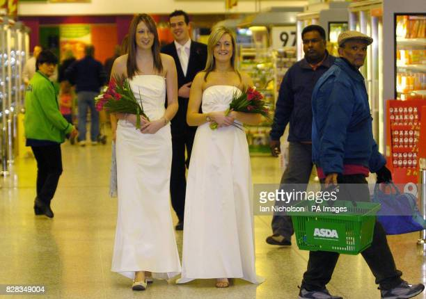 Asda bridal wear is launched by models at the company's Watford store Tuesday February 14 2006 Clare wears a twopiece outfit on sale for 65 Colette...