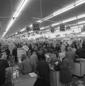 Asda supermarket 1969 Scene in a busy Asda supermarket photographed in March of 1969 The layout is much the same as modern supermarkets but the tills...