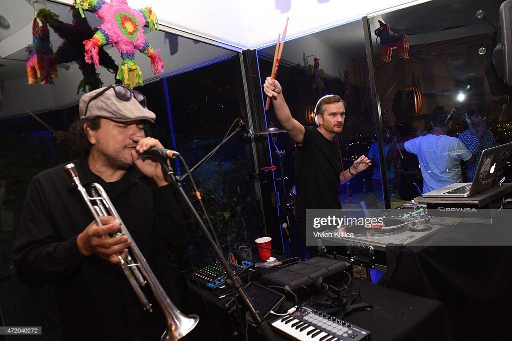 Asdru Sierra and Balthazar Getty of Abstrakto perform at Casper LA's Cinco De Mattress Party on May 3 2015 in West Hollywood California