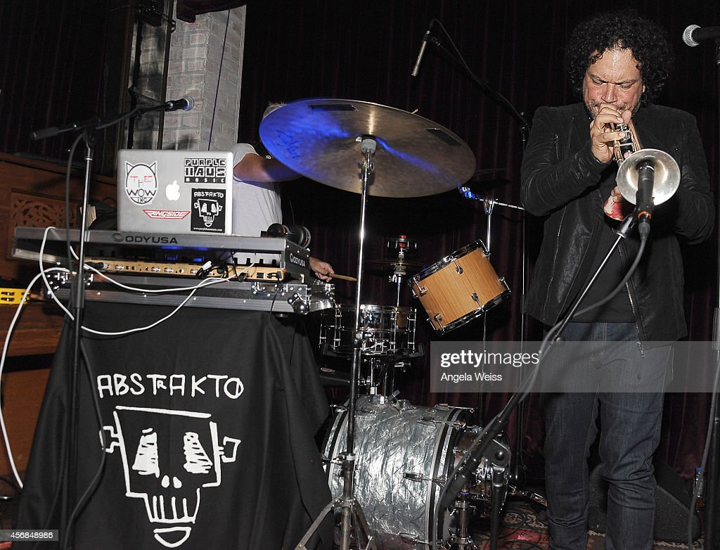 Asdru Sierra of ABSTRAKTO performs at the Balthazar Getty and Spotify present a Night with PurpleHaus Music event on October 7 2014 in Los Angeles...