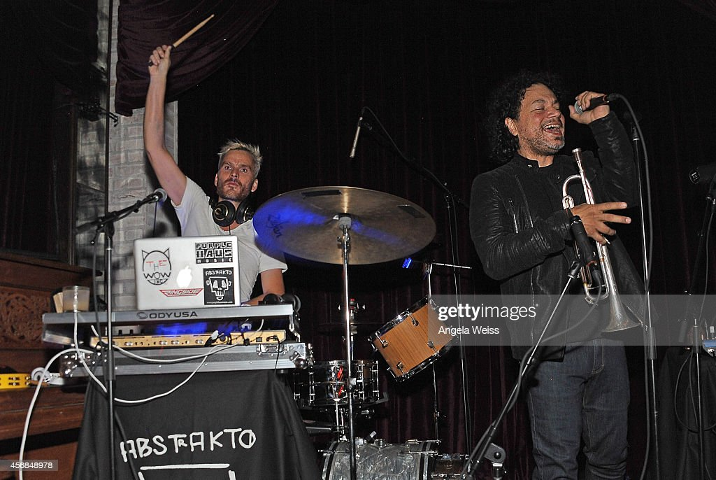 Asdru Sierra of ABSTRAKTO with Balthazar Getty performs at the Balthazar Getty and Spotify present a Night with PurpleHaus Music event on October 7...